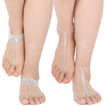 (set4 C) - kilofly 2 Pairs Rhinestone Foot Jewellery Barefoot Sandal Beach Wedding Anklet Set