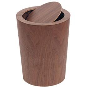 ノルディック木製フリップリビングルームごみ箱クリエイティブファッションシンプルなホームベッドルームオフィスホテルラージゴミ箱 (色 : ブラッククルミ色)