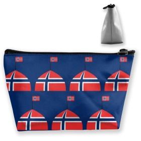 ノルウェーのロゴの旗 収納ポーチ 化粧ポーチ トラベルポーチ 小物入れ 小財布 防水 大容量 旅行 おしゃれ