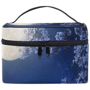 ユキオ(UKIO) メイクポーチ 大容量 シンプル かわいい 持ち運び 旅行 化粧ポーチ コスメバッグ 化粧品 デカイ 月 梅 レディース 収納ケース ポーチ 収納ボックス 化粧箱 メイクバッグ