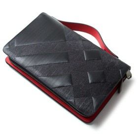 INDIEee インディ イタリア製 ストリシアレザー ダブルファスナー セカンドバッグ メンズ 本革 大きい財布