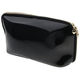 化粧ポーチ メイクアップバッグ PVC 旅行 バッグ ポータブル 収納用 トイレ 5色選べ - ブラック