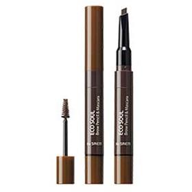 【The Saem】ザセム エコソウルブロウペンシル&マスカラ/Eco Soul Brow Pencil Mascara (02 ナチュラルブラウン)