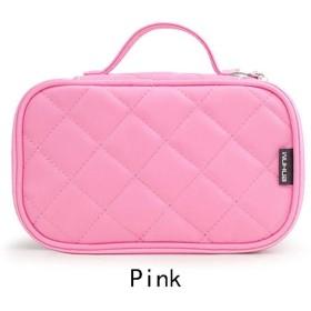 2019ファッション旅行化粧品バッグ単色防水女性化粧ブラシ美容バッグオーガナイザー二重層lingge化粧品バッグ (Color : Pink)