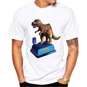 Yizu メンズTシャツファッションコットンプリントTシャツ恐竜マウントクリエイティブ漫画楽しいTシャツソフトと汗に強い (色 : White, Size : S)