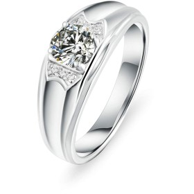 ウエディングリング 結婚指輪 スターリングシルバー 4本爪 ラウンド 5.5MM キュービックジルコニア シルバー リング サイズ:18 Aooaz