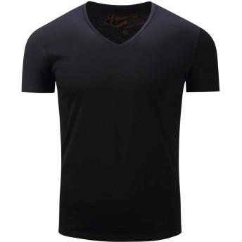 KingsleyW メンズベーシックソリッドカラーVネック半袖Tシャツ (色 : 黒, サイズ : L)