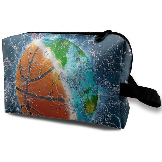バスケットボールアースアンドウォーター ポーチ 旅行 化粧ポーチ 防水 収納ポーチ コスメポーチ 軽量 トラベルポーチ25cm×16cm×12cm