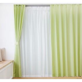 遮光裏地付ドットストライプカーテン&レースカーテン4枚セット (幅100×丈230cm(各2枚), グリーン)