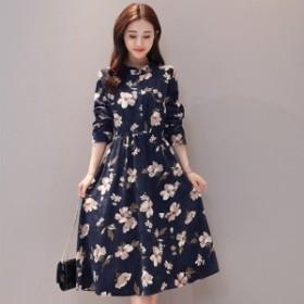 ワンピース 花柄 長袖 肩出し ミディアム丈 シフォン デート 韓国ファッションオルチャン