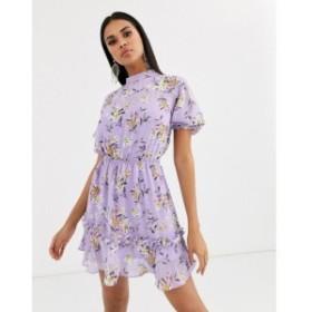 プリティリトルシング PrettyLittleThing レディース ワンピース スケータードレス high neck skater dress with ruffle detail in lilac