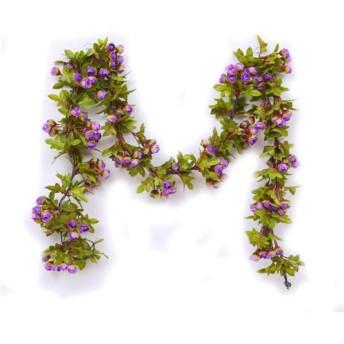 HUIJUNWENTI 偽花籐シミュレーションバラの花-つる壁掛けバルコニー装飾/天井/下水道管/エアコンパイプ装飾に使用することができます(42バラ/ 2.2m) 最新モデル (Color : Purple, Style : 5 rattans)