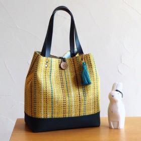 【再販】秋のミックスカラー手織り布のバケツトート(イエロー)