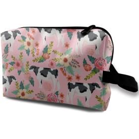 乳牛 花柄 化粧バッグ 収納袋 女大容量 化粧品クラッチバッグ 収納 軽量 ウィンドジップ