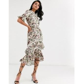 ホープ&アイビー Hope and Ivy レディース ワンピース flutter sleeve midaxi dress with ruffle hem in cream tapestry print クリーム