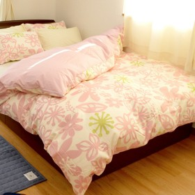 日本製 綿100% 掛け布団カバー マリア シングル 草花柄 ピンク