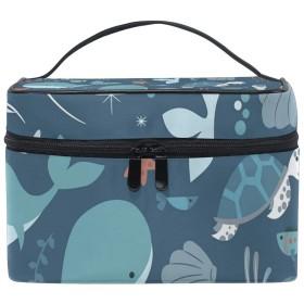 メイクポーチ 海の動物 可愛い 化粧ポーチ 化粧箱 バニティポーチ コスメポーチ 化粧品 収納 雑貨 小物入れ 女性 超軽量 機能的 大容量