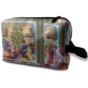 楽しい一家 雪花 化粧バッグ 収納袋 女大容量 化粧品クラッチバッグ 収納 軽量 ウィンドジップ