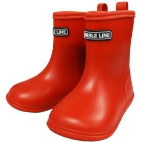 子供長靴 キッズレインシューズ 雨具 無地 男の子 女の子 ユニセックス MarbleLine マーブルライン - レッド/17cm