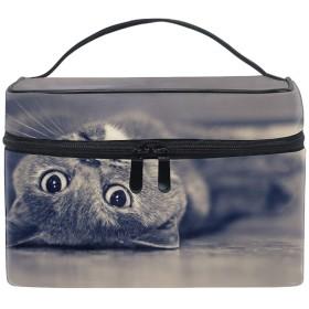 化粧ポーチ 化粧品 収納 コスメポーチ レディース ポーチ 大容量 軽量 防水ブルーブリティッシュショートヘアの猫動物