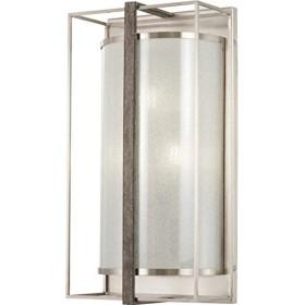 ミンカラヴェリー4560–098タイソンのゲート–3つのライト壁取り付け用燭台、つや消しニッケル/Shale Wood Finish withホワイトアイリスガラス
