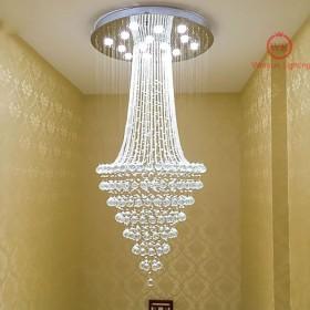 Wenrun照明階段リビングルームGU10 LED 3明るさK9クリスタルとクロームミラーステンレススチールシャンデリア天井ランプハンギングランプシャンデリアフィクスチャランプライトLED電球とリモートコントロール (D40cm x H80cm)