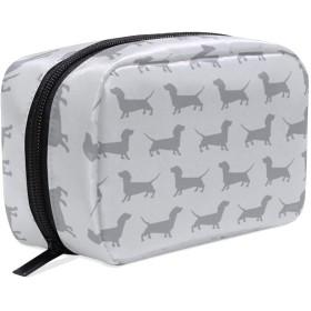 かわいい灰色のダックスフント犬パターン化粧ポーチ コスメポーチ メイクポーチ 使いやすい 機能的 小さめ コンパクト 化粧 ポーチ 便利グッズ キレイめ 小物入れ 旅行 トラベル