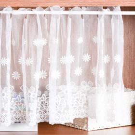 在庫一掃 カフェカーテン45㎝丈レース HAVARGO おしゃれ 刺繍 ホワイト 小窓用カーテン 目隠し春 夏 カフェ 二柄 (デイジー柄) 45×145㎝