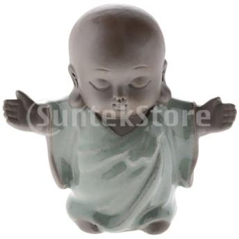 3pcsセラミックリトルモンク仏像彫刻ティーペットオーナメントアート