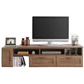 最大幅214.5cmに伸縮♪ スライド式 テレビボード (ブラウン) / 伸縮テレビ台 コーナーテレビ台 ローボード アンティーク