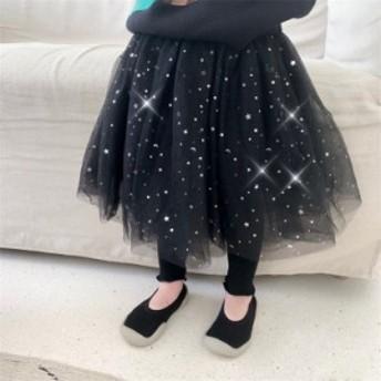 レギンスパンツ キッズ 女の子 スカート付きレギンス スパッツ チュールスカート レギパン ボトムス 子ども 子供服 全店2点送料無料