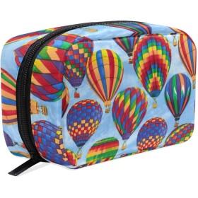 カラフルの熱気球 化粧ポーチ メイクポーチ 機能的 大容量 化粧品収納 小物入れ 普段使い 出張 旅行 メイク ブラシ バッグ 化粧バッグ