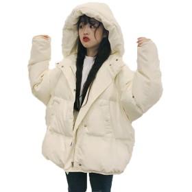 JinNiu ダウンコート ダウンパーカー ダウンジャケット レディース アウター アウトドア 長袖 綿 フード付き ショート丈 カジュアル 大きいサイズ ゆったり あったか 暖かい シンプル オシャレ 可愛い 学生 冬の暖かいコートホワイトM