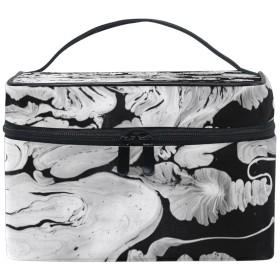 Natax メイクポーチ 化粧ポーチ バニティケース黒と白 花柄 旅行 出張用バック 雑貨 小物入れ ハンドル付き 防水 男女兼用 細かく整理できる仕切り付き