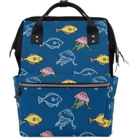 ANNSIN マザーズバッグ ママバッグ リュック バックパック ハンドバッグ 3WAY 多機能 防水 大容量 軽量 シンプル おしゃれ ベビー用品収納 出産準備 旅行 お出産祝い 海 クラゲ 魚