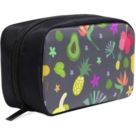 GGSXD メイクポーチ 果物 アボカドや花 ボックス コスメ収納 化粧品収納ケース 大容量 収納 化粧品入れ 化粧バッグ 旅行用 メイクブラシバッグ 化粧箱 持ち運び便利 プロ用