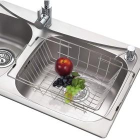 NEX 食器乾燥ラック シンク内 ステンレススチール 食器水切り 伸縮式排水バスケット 拡張可能 防錆 収納 キッチン用品 シルバー