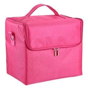 化粧箱、大容量多機能化粧品ケース、ポータブル旅行化粧品袋収納袋、美容化粧ネイルジュエリー収納箱 (Color : ピンク)