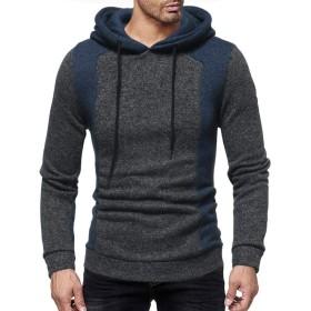 Clearance メンズ フード付きスウェットシャツ NEARTIME ファッションパッチワーク 長袖コート Oネック フード付きジャケット スリムブラウス Asian:M ブラック