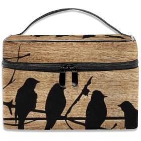 MEClOUD 枝と鳥 木 壁画 化粧ポーチ メイクポーチ コスメバッグ コンパクト 収納 雑貨大容量 防水 小物入れ 旅行用