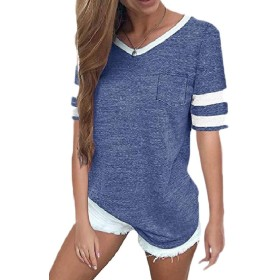 maweisong Women's Loose Short Sleeve Round Neck Tunic T Shirt Blouse Tops with Pocket Blue S