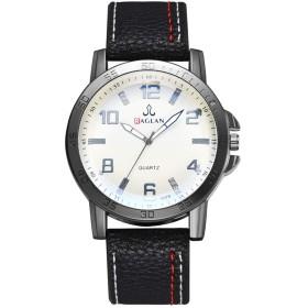 クォーツ腕時計 PUレザーバンド カジュアルスタイルビジネス腕時計 男性 (ブルー)