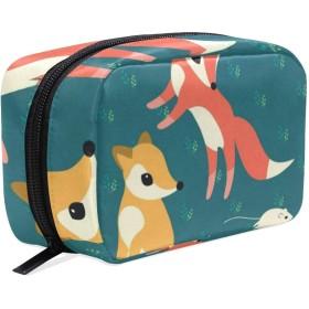 漫画のキツネ 化粧ポーチ メイクポーチ 機能的 大容量 化粧品収納 小物入れ 普段使い 出張 旅行 メイク ブラシ バッグ 化粧バッグ