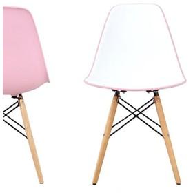 イームズ・シェルサイドチェア(DSW - Bi color / バイカラー)ピンク色(プレミアム)          【イームズ】【ダイニングチェア】【オフィスチェア】【PCチェア】【オフィス家具】【珍しい】【低価格】【デザイナー家具】【リプロダクト】