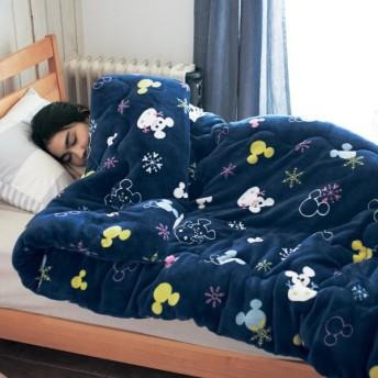 毛布 マイクロファイバー ディズニー かわいい ボリューム わた入り あったか 洗える シングル ミッキーモチーフ(雪だるま)