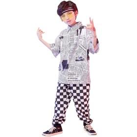 キッズ ダンス衣装 ダンス 衣装 ヒップホップ トップス+パンツ 2点セット セットアップ 原宿系 ゆったり ガールズ 女の子 男の子 オシャレ jazz hiphop dj ダンスウェア 子供服 演出服 ストリート セール (シャツだけ,160)