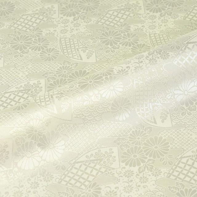 京 綸子・りんず 扇と菊(白) 50cm単位 切り売り 布地 はぎれ 和柄 生地 インテリア コスプレ 金襴布