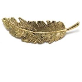 リーフヘアクリップメタルフェザーシェイプヘアグリップバレットヘアピンヘアアクセサリー (Gold)
