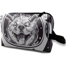 宇宙飛行士の柴犬 化粧バッグ 収納袋 女大容量 化粧品クラッチバッグ 収納 軽量 ウィンドジップ