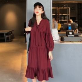 ワンピース ミモレ丈 長袖 ティアード ガーリー 韓国ファッション オルチャンファッション